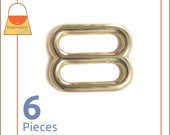 "5/8 Inch Slides for Purse Straps, Brass Finish / Gold, 6 Pieces, Handbag Bag Making Hardware, 5/8"", BKS-AA039"