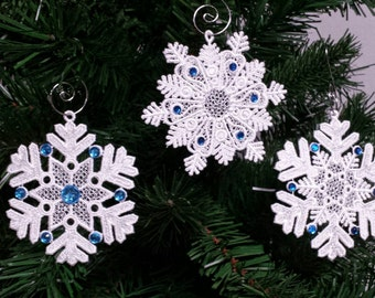 Set of 3 Snowflake christmas ornament - Embroidered Lace snowflake ornament- lace ornament - stocking stuffer- free standing lace ornament