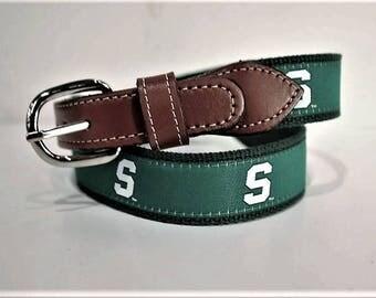 Michigan State University Men's  Web Leather Belt