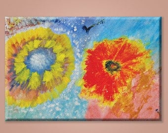 Abstract Flowers Painting, Canvas, Print, Spring, Home decor, Interior, Wall Decor
