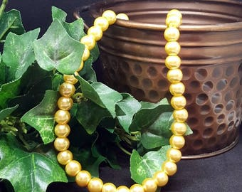 "Glass Pearl Beads ~GOLD~ 8mm Bead, 1mm Hole; approx.  16"" Strand (approx 55 beads)"
