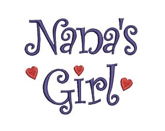Nanna's Girl Embroidery Design in 2 Sizes