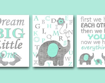 Digital Nursery Quote Dream Big Little One Baby Nursery Decor First We Had Each Other Then We Had You Baby Nursery Print set of 3 8x10 11X14
