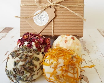 Gift Set Bath Truffles, Hand Rolled, Gift Box Bath Melts, Cocoa Butter Bath Bombs