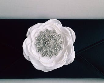 Black and White Bridal Clutch with Rhinestone ~ Wedding Clutch, Bridesmaid Clutch ~ Bouquet Clutch- Evening Bag ~ Mother of the Bride, Prom