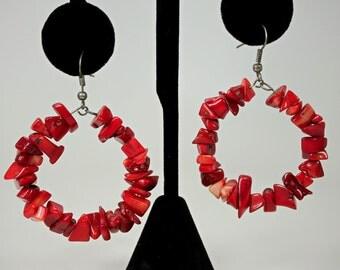 Vintage Red Coral Beads Hoop Earrings Pierced c1970s