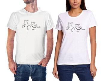 MAN and WOMEN Tshirt - Sucrose molecule design t-shirt - Handmade in Italy
