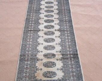 Size:7.9 ft by 2.6 ft Handmade Rug Runner Vintage Off White Bokhara Soft Pakistani Carpet Runner