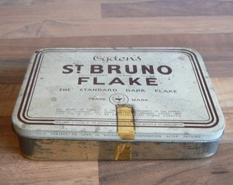 Super Collectible Large Tobacco Tin Advertising Ogden's St. Bruno Flake.