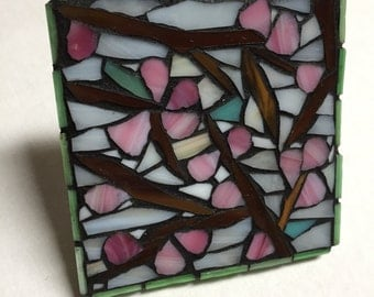 Unique stained-glass mosaic cherry blossoms coaster/spoon rest/decorative piece