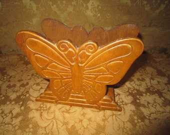 Vintage Butterfly Napkin Holder,  Wood Napkin Holder,  Mail Holder, Carved Wood, Embossed Wood