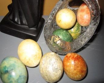 Vintage Alabaster Eggs, Set of Eight , Marble Stone Eggs, Spring Decor, Italian,  Alabaster Carved Eggs,