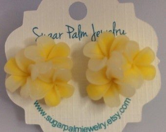 Tropical Beach Plumeria Earrings