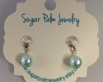 Sterling Silver Seashell and Light Blue Pearl Earrings