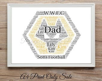 Personalised Wolverhampton Wanderers Wolves FC Football Team Badge Word Art Bespoke A4 Gift Print FREE UK P+P 21x30cm Birthday Father's Day