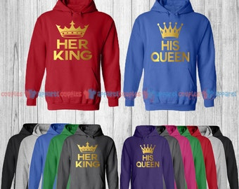 Her King & His Queen - Matching Couple Hoodie - His and Her Hoodies - Love Sweaters