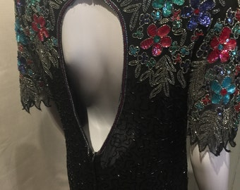 80s Stunning Knee Length Beaded & Sequin Floral Pattern Dress
