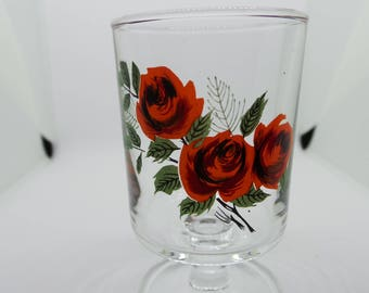 Vintage french glass - pair of roses glasses