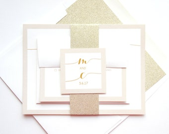 Gold and Ivory Wedding Invitations, Champagne Wedding Invitation, Tan Wedding Invitation, Beige, Gold Glitter Belly Band - SAMPLE SET