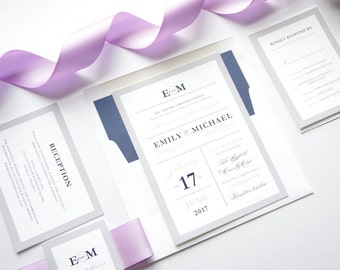 Personalized Wedding Invitations- Purple Wedding Stationery, Purple Wedding Invitations, Navy Blue, Wedding Invites - Deposit