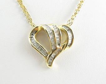 "14K Yellow Gold Diamond Heart Necklace 16"" 1.00 carat - Valentines Gemstone Necklace"