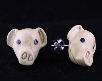 "Hand Carved- ""Pig Moji"" -Crocodile Wood with Ebony Wood Inlay Stud Earring - Zoo Moji"