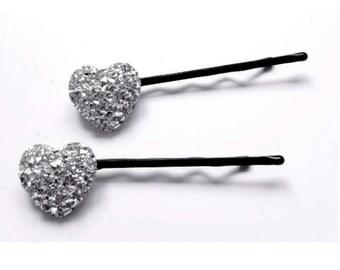 Diamante hair pins, sparkly hair pins, heart hair pins, wedding accessories, bridal hair pins, diamante bobby pins, heart bobby pins