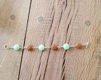 Mint bracelet, mint jewelry, silver bracelet, silver jewelry, gifts for her, valentines gift, birthday gift, chocolate bracelet,