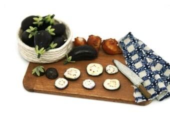 OOAK Eggplant Board ~ Miniature Food ~ Dolls House Miniatures