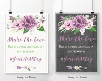 Wedding hashtag sign printable, custom wedding sign boho watercolor flowers 2017 trends mauve, purple and gray on dark or light background