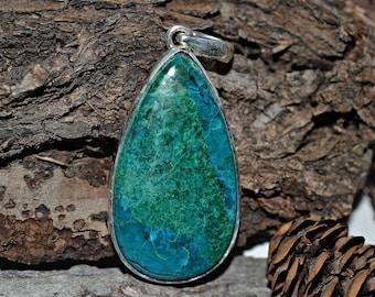 Natural Chrysocolla Pendant, Chrysocolla Pendant, Chrysocolla Silver Pendant, Silver Pendant, 925 Silver Pendant