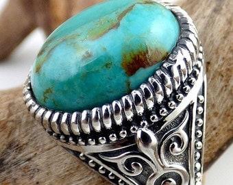 BAGUE HOMME TURQUOISE chevaliere turquoise bijou pierre naturelle protection argent vk68