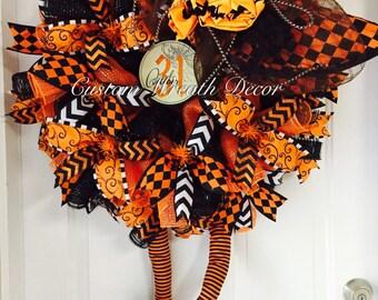 One Bad Witch, Orange & Black Halloween Witch Wreath, Deco Mesh Halloween Wreath