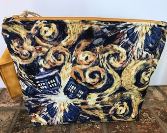 Exploding TARDIS Project Bag, Dr Who Project Bag, Knitting Project Bag, Medium Project Bag, Makeup Bag