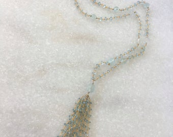 KIRSTEN aquamarine tassel necklace