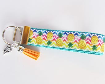 Rainbow Chevron Pineapple Key Fob - Pineapple Wristlet Key Fob - Pineapple Keychain - Pineapple Tassel Key Fob - Tassel And Charm Key Fob