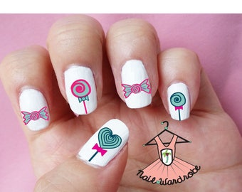 30 Lollipop Nail Decals  (Waterslide Nail Decal)