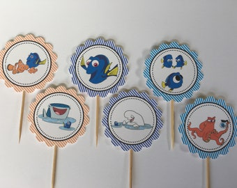 Finding Dory - 12 cupcake toppers