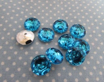 11mm Round Blue Crystal Buttons