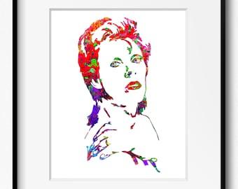 David Bowie Watercolor Art Print (P2004) Aladdin Sane, Ziggy Stardust, Abstract, Wall Art, Home Decor
