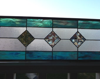 "Stained Glass Window Panel Bevels and Cubes 21 1/8"" x 7 5/8"""