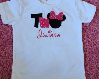 Minnie Mouse Inspired Second Birthday T-Shirt- Minnie Mouse Two Birthday Shirt - Personalized Minnie Birthday Embroidered Shirt