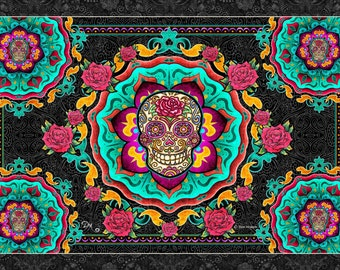 Tapestry, 3D Sugar Skull, Day of the Dead, Tapestry Wall Hanging by Artist Dan Morris - 3D glasses included
