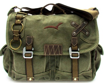 Cross Shoulder Canvas Military Green Messenger Bag Vintage Straps Rustic Rucksack Messenger Laptop Stylish Bag Green | Coffee | Black | Tan