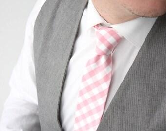 Mens Tie TC023 Pink Plaid Handmade Cotton Men's necktie Boom Bow Wedding tie