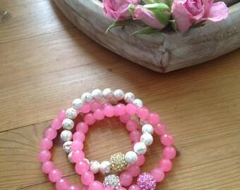 Pink Stretch Bracelets Pave Bead Bangles Gemstone Bracelets Stack Bracelets Spring Sale