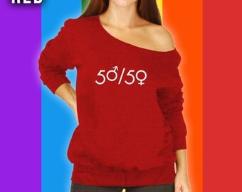 50/50 Womens Rights are Human Rights Slouchy Sweater, Human Rights Slouchy Sweatshirt, Equal Rights, Womens Rights, Anti Trump Rally CT-829