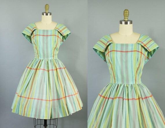 1950s plaid cotton dress/ 50s sailor collar sundress/ medium
