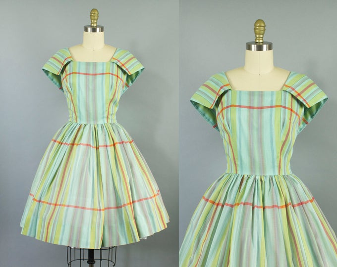 1950s plaid cotton dress/ 50s sailor collar sundress/ medium