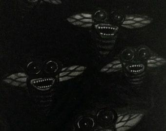 Original Monster Art ACEO, Horror, Outsider Folk Art, Scary Painting, ATC Card Illustration, Artwork Creepy Drawing, Weird Stuff Gift Ideas
